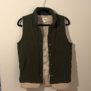 Olive Green Suede Vest with Cream Fur Lining